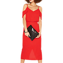 Buy Oasis Cold Shoulder Midi Dress, Mid Red Online at johnlewis.com