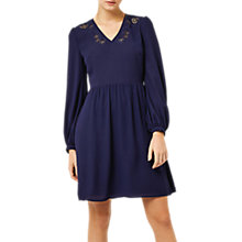 Buy Warehouse Cutwork Embroidered Dress, Navy Online at johnlewis.com