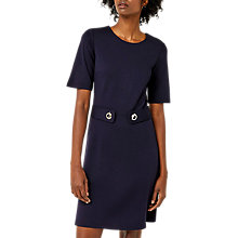 Buy Warehouse Bar Ponte Dress, Navy Online at johnlewis.com