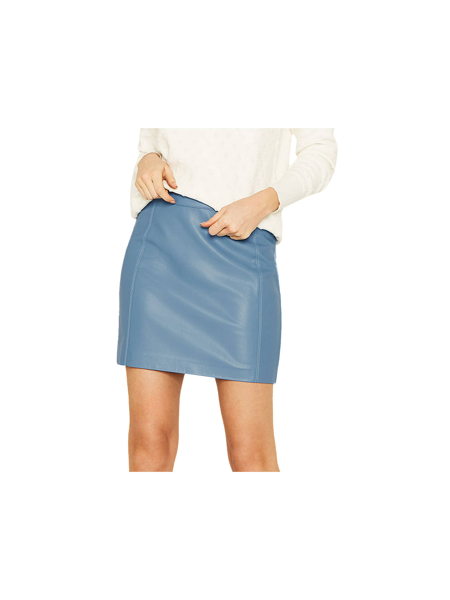 d722fa4f3 Buy Oasis Faux Leather Seamed Mini Skirt, Rich Blue, 8 Online at johnlewis.