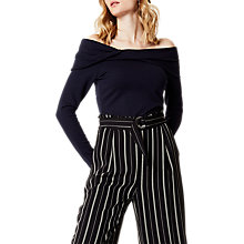 Buy Karen Millen Twisted Bardot Top, Navy Online at johnlewis.com