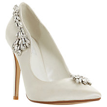 Buy Dune Bestowed Jewelled Stiletto Heeled Court Shoes, Ivory Satin Online at johnlewis.com