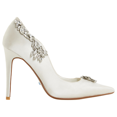 Dune Bestowed Jewelled Stiletto Heeled Court Shoes, Ivory Satin