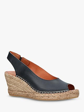 Carvela Comfort Sharon Wedge Heel Espadrille Sandals, Black Leather