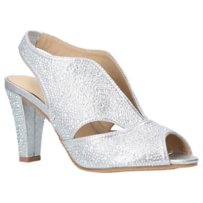 Carvela Comfort Arabella Embellished Cone Heel Open Toe Court Shoes, Silver
