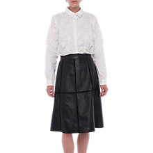 Buy French Connection Gizo Leather A-Line Skirt, Black Online at johnlewis.com
