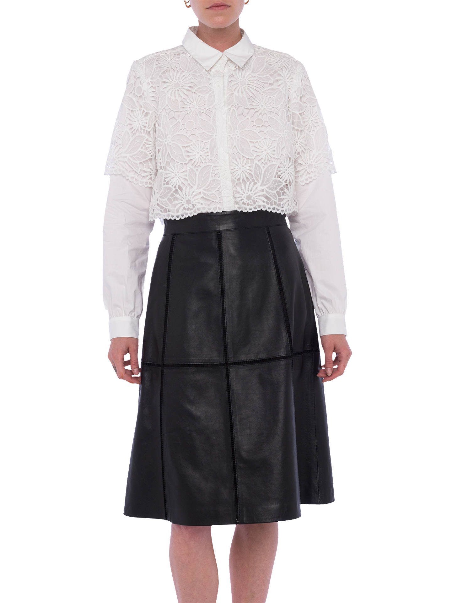 BuyFrench Connection Gizo Leather A-Line Skirt, Black, 6 Online at johnlewis.com