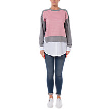 Buy French Connection Kapiti Layered Sweat Top, Grey/Blazer Red/White Online at johnlewis.com