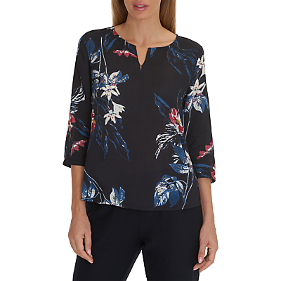 Betty & Co. Floral Print Tunic, Dark Blue