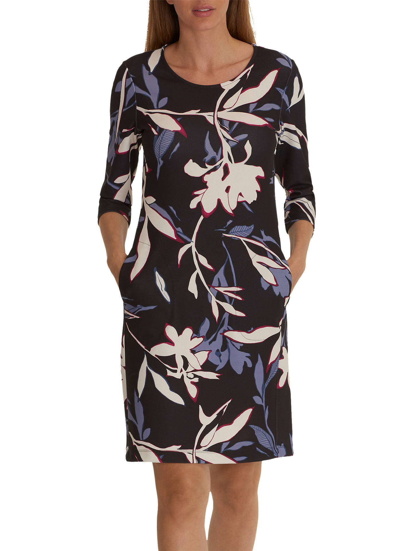 BuyBetty & Co. Floral Print Jersey Dress, Grey/Cream, 10 Online at johnlewis.com