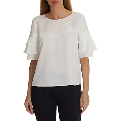 Betty & Co. Lace Trimmed Blouse, Snow White