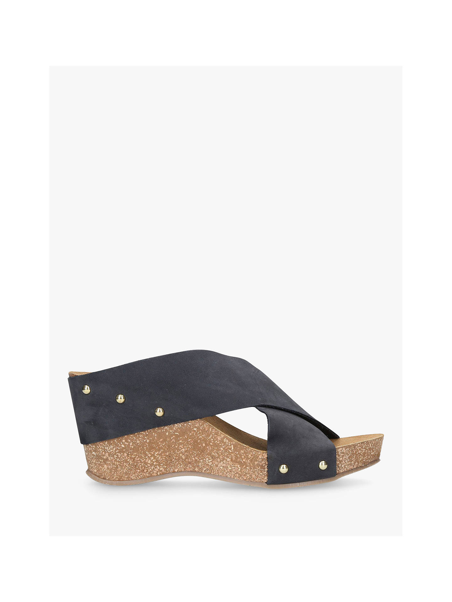 Buy Carvela Comfort Sooty Cross Strap Wedge Heel Sandals, Navy Suede, 3 Online at johnlewis.com