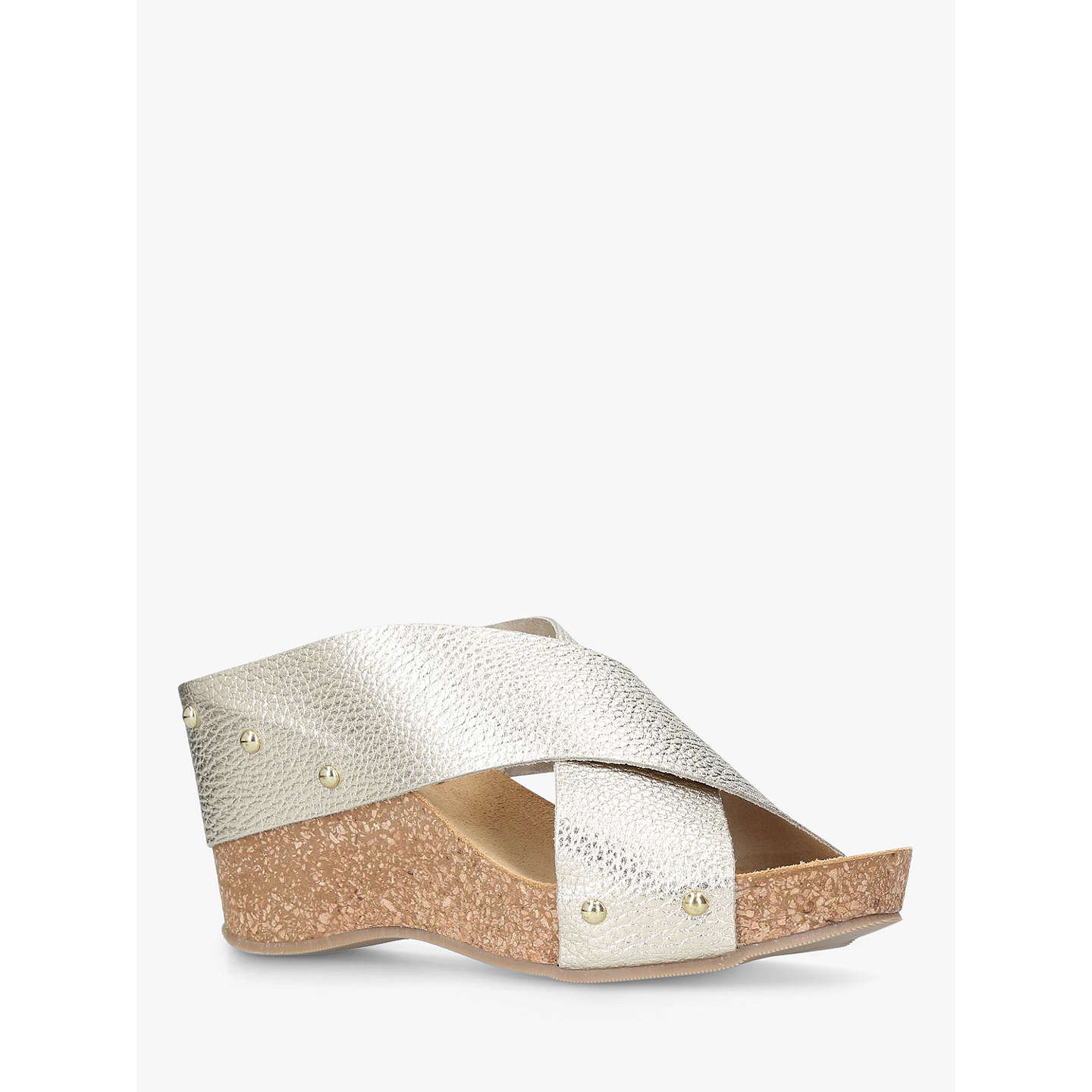 BuyCarvela Comfort Sooty Cross Strap Wedge Heel Sandals, Gold Leather, 3 Online at johnlewis.com