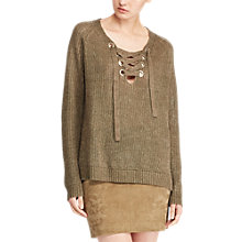 Buy Polo Ralph Lauren Lace-Up Linen Jumper, New Olive Online at johnlewis.com
