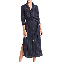 Buy Polo Ralph Lauren Pinstripe Silk Shirt Dress, Navy Online at johnlewis.com