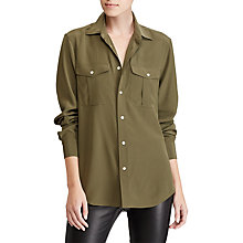 Buy Polo Ralph Lauren Silk Button Down Shirt, Defender Green Online at johnlewis.com