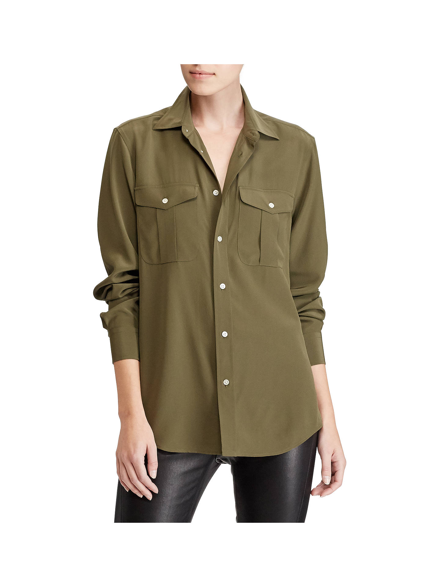 3ae5482ce Buy Polo Ralph Lauren Silk Button Down Shirt, Defender Green, 8 Online at  johnlewis ...