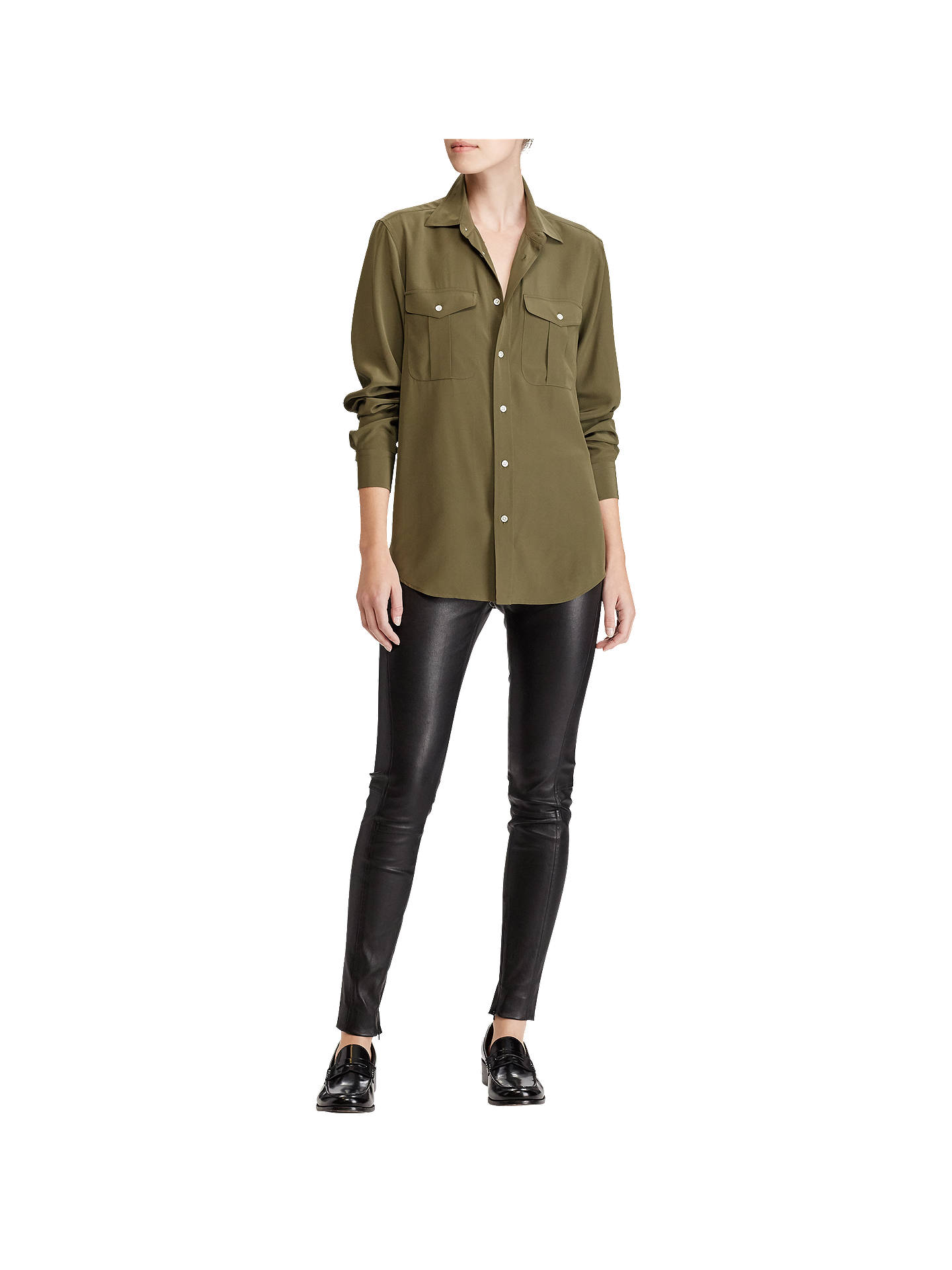 06973a769 ... Buy Polo Ralph Lauren Silk Button Down Shirt, Defender Green, 8 Online  at johnlewis ...