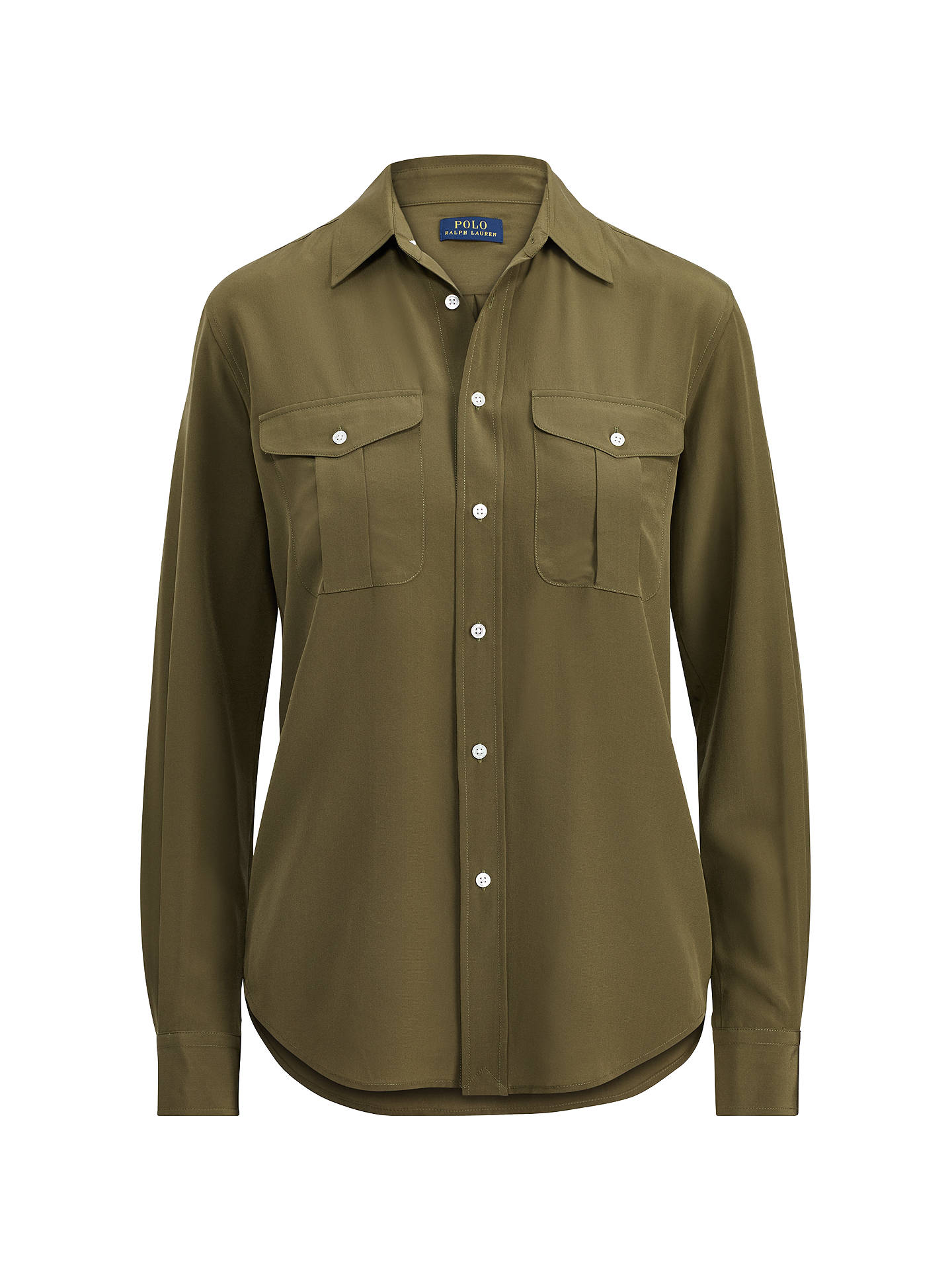 b6f0bc393 ... Buy Polo Ralph Lauren Silk Button Down Shirt, Defender Green, 8 Online  at johnlewis