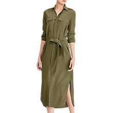 Buy Polo Ralph Lauren Silk Crepe De Chine Shirt Dress, Green Online at johnlewis.com