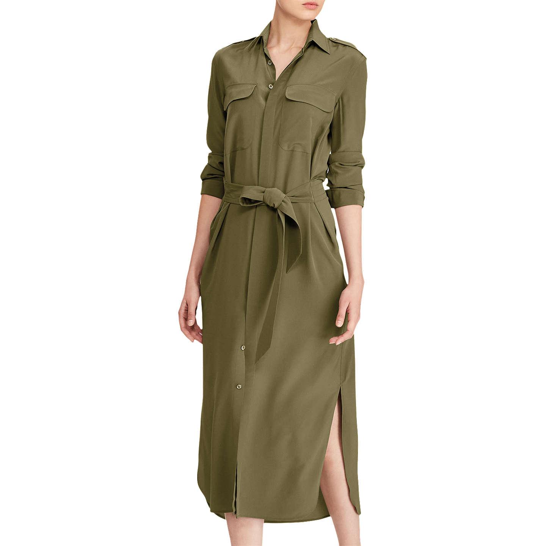 BuyPolo Ralph Lauren Silk Crepe De Chine Shirt Dress, Green, 8 Online at  johnlewis ...