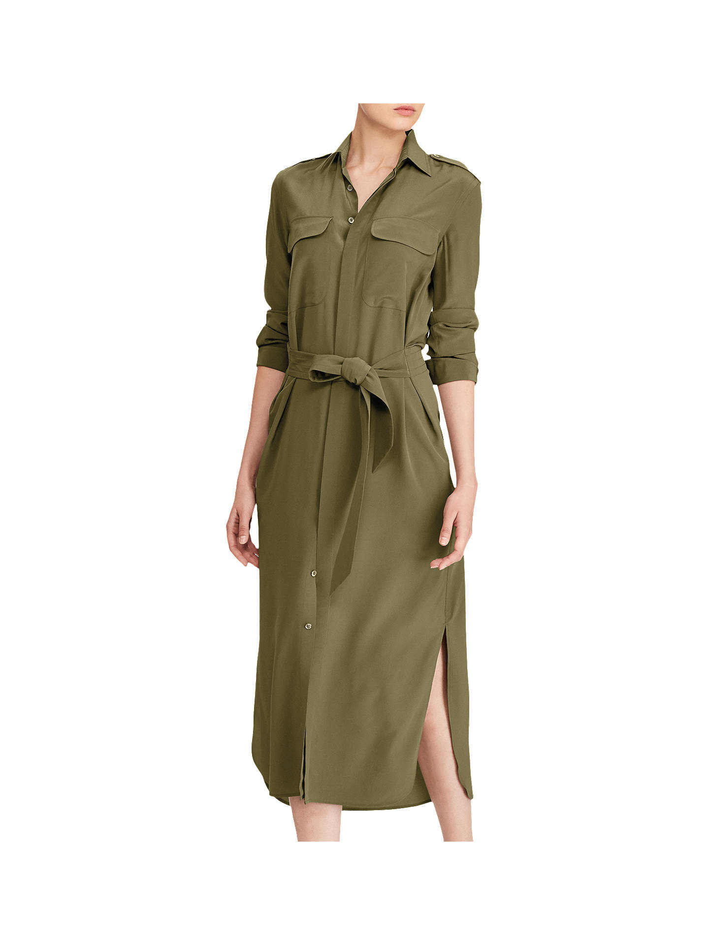 cc6b552d37 Buy Polo Ralph Lauren Silk Crepe De Chine Shirt Dress, Green, 8 Online at  ...