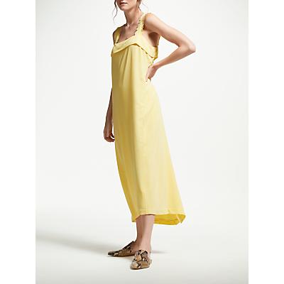 Modern Rarity Frayed Strap Silk Cami Dress, Mellow Yellow