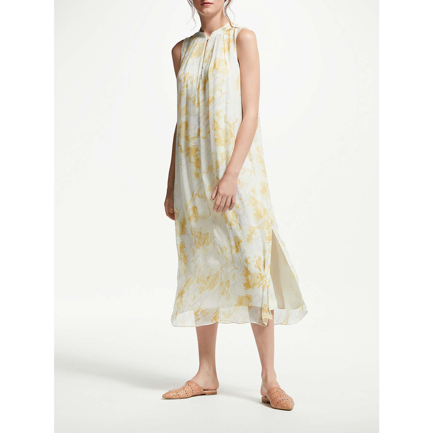 Modern Rarity Watercolour Cloud Mandarin Collar Dress, Yellow/Multi by Modern Rarity