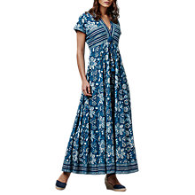 Buy East Handblock Print Anokhi Maxi Dress, Indigo Online at johnlewis.com