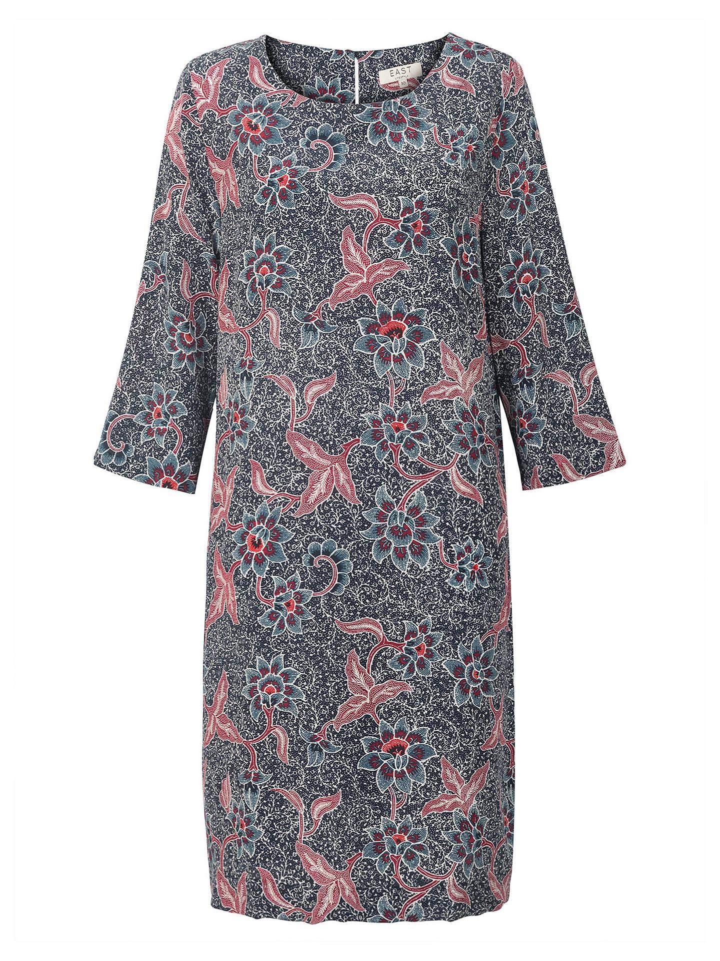 East Silk Bali Print Dress Indigo At John Lewis Partners