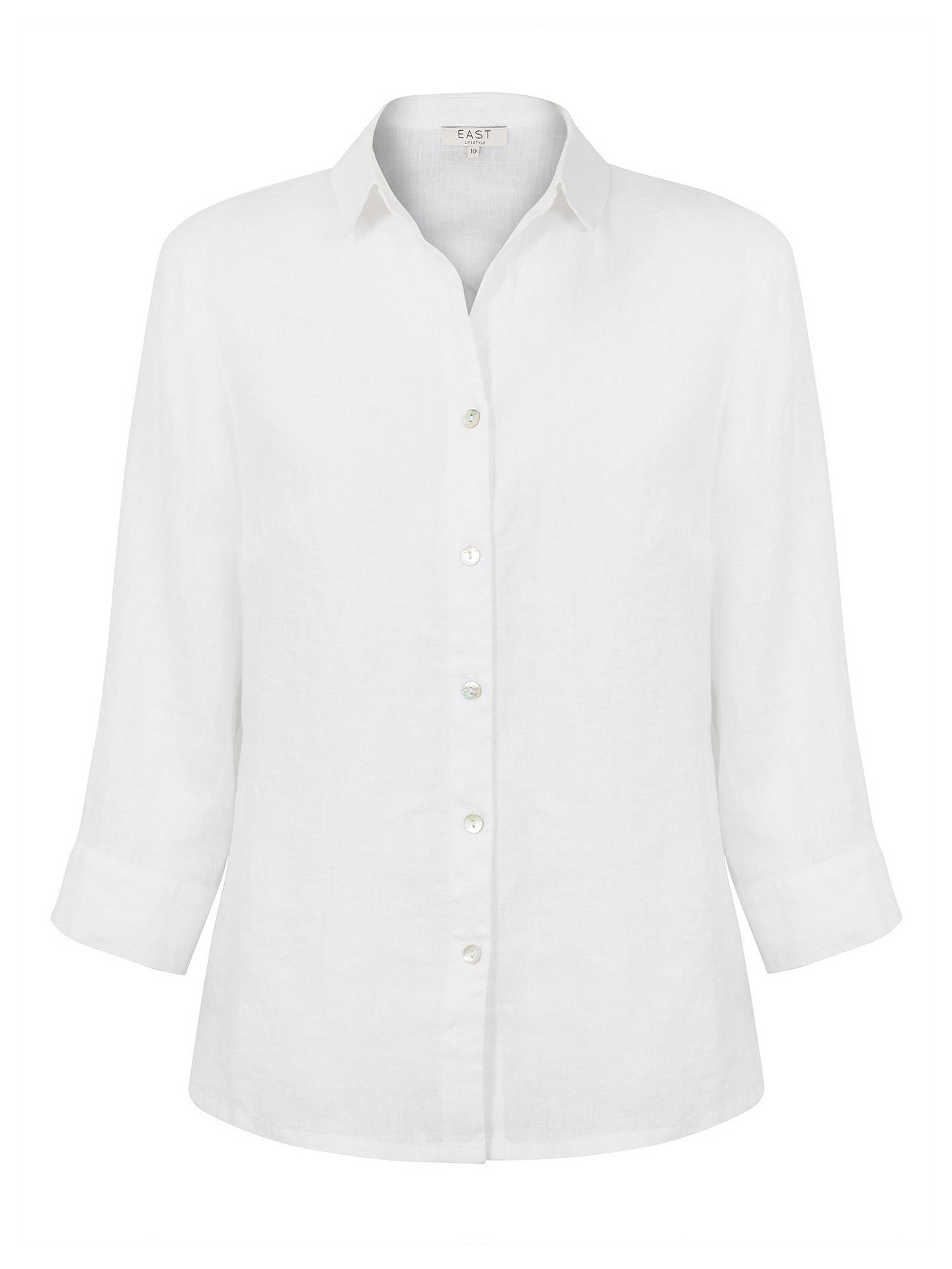 BuyEast Linen Fitted Shirt, White, 10 Online at johnlewis.com