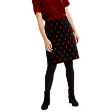 Buy White Stuff Fireside Embroidered Velvet Skirt, Black/Red Online at johnlewis.com
