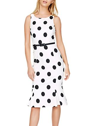 Damsel in a Dress Lillia Spot Dress, Ivory/Black