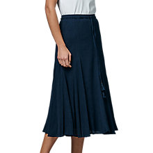Buy East Cheesecloth Crinkle Skirt, Indigo Online at johnlewis.com