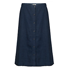 Buy East Linen Delave Button Skirt, Indigo Online at johnlewis.com
