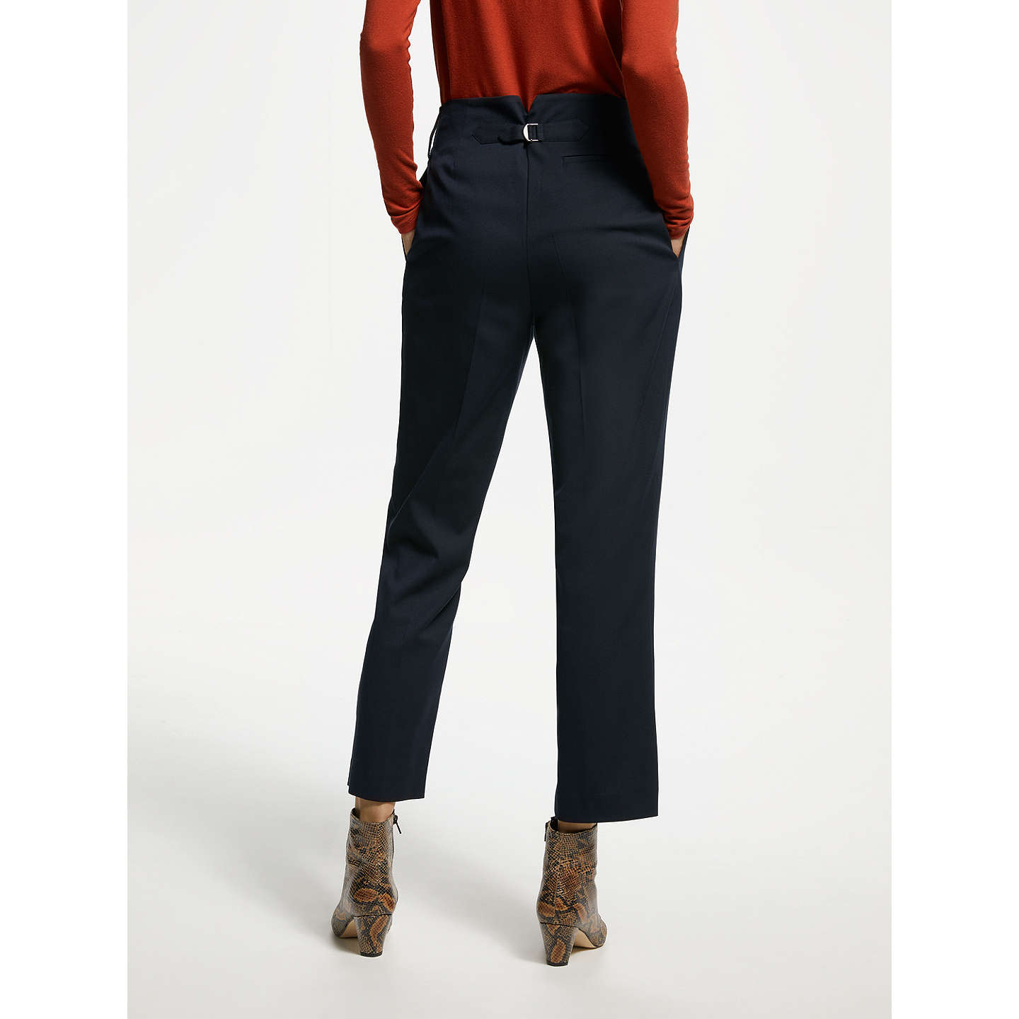 BuyFinery Oliver Peg Trousers, Navy, 8 Online at johnlewis.com