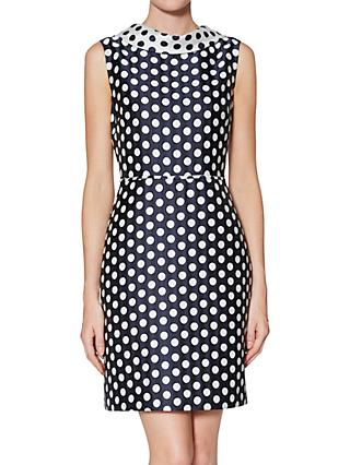 Gina Bacconi Angelica Spot Dress, Navy/White