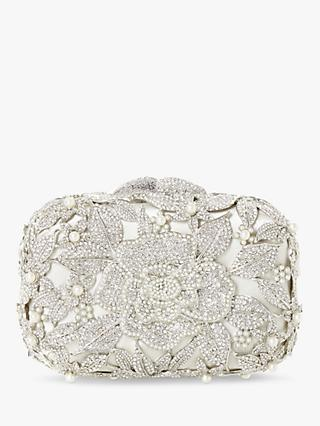 Dune Celebration Diamante Hard Case Clutch Bag, Ivory