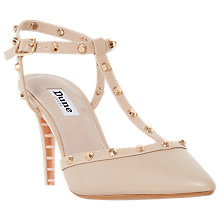Buy Dune Catelyn Studded T-Bar Court Shoes, Nude Leather Online at johnlewis.com