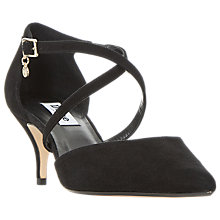 Buy Dune Courtnee Cross Strap Kitten Heel Court Shoes, Black Suede Online at johnlewis.com