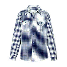 Buy Fat Face Boys' Raley Gingham Shirt, Slate Blue Online at johnlewis.com