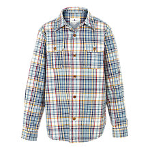 Buy Fat Face Boys' Ridge Check Shirt, Ecru Online at johnlewis.com