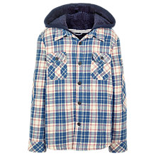 Buy Fat Face Boys' Salcombe Check Shacket, Slate Blue Online at johnlewis.com