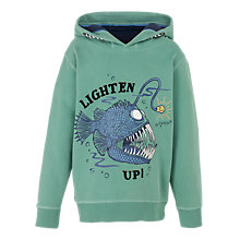 Buy Fat Face Boys' Angler Fish Popover Hoodie, Green Online at johnlewis.com