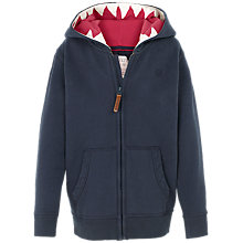 Buy Fat Face Boys' Shark Tooth Hoodie, Navy Online at johnlewis.com