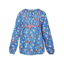 Buy Fat Face Girls' Spring Bird Print Blouse, Cobalt Online at johnlewis.com