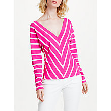 Buy Marc Cain Chevron Stripe Top, Pink Online at johnlewis.com