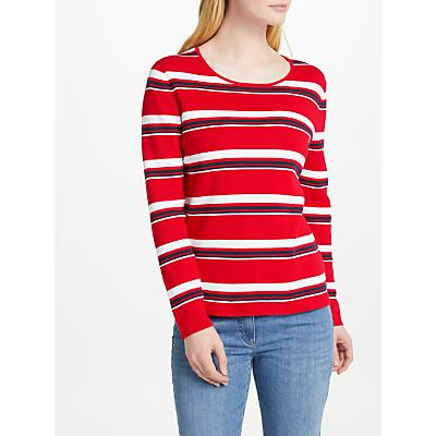 Gerry Weber Stripe Cotton Jumper, Red/Blue/White