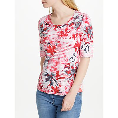 Gerry Weber Print Burn Out T-Shirt, Red/Ecru