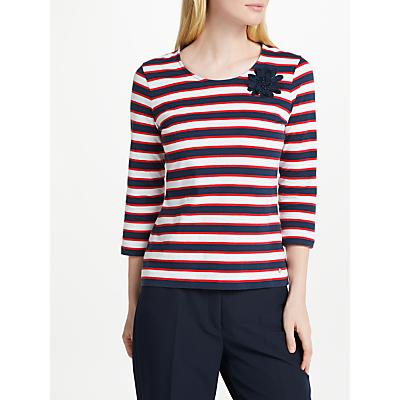 Gerry Weber 3/4 Sleeve Stripe T-Shirt, White/Blue